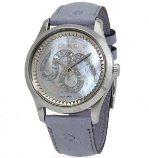 Gucci Women's 'G-Timeless' Blue Ostrich Watch