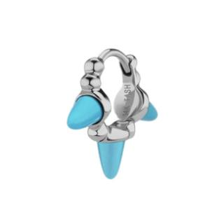 Maria Tash 6.5mm Triple Short Turquoise Spike Granulated Hoop Earring