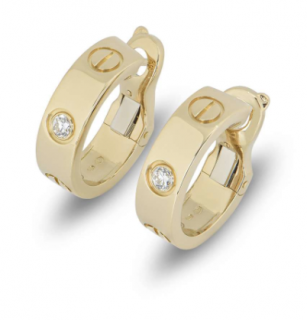 Cartier Gold Single Diamond Small Hoop Earrings