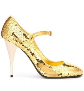 Miu Miu Gold Sequin Mary-Jane Pumps