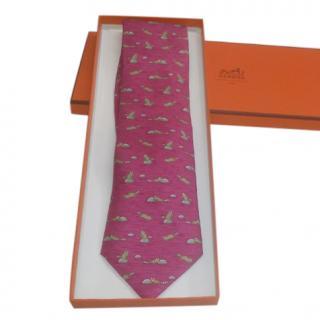 Hermes Pink Raccoon Print Silk Tie