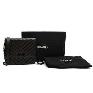 Chanel So Black Reissue 2.55 Square Chevron Wallet On Chain