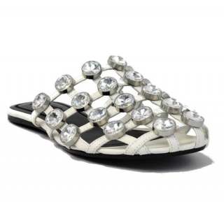 Alexander Wang White Jeweled Amelia Slippers