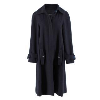 Chanel Navy Alpaca Wool Boucle Blend Coat