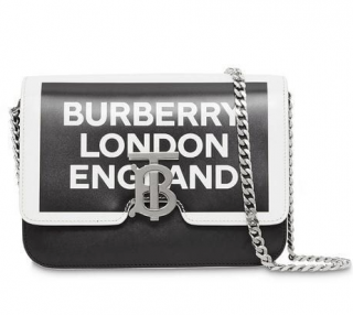Burberry Painted Edge Logo Print Leather TB Bag
