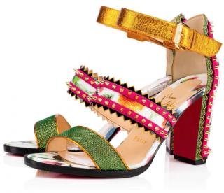 Christian Louboutin Montezumina 85 Multi Patent Mosaique Sandals