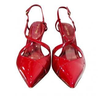 Sergio Rossi Red Patent Leather Sandals