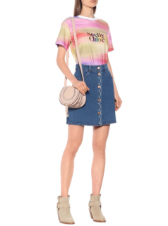 See by Chloe High-rise stretch-denim miniskirt