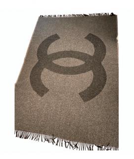 Chanel Dark Grey CC Reversible Blanket 210x150cm