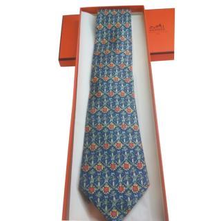 Hermes Blue Printed Silk Mens Tie