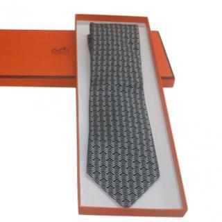 Hermes Black & Grey Silk Printed Tie