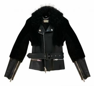 Burberry Black Leather Shearling Lined Biker Jacket