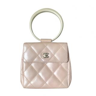 Chanel Pink Pearlescent Mini Top Handle Bag