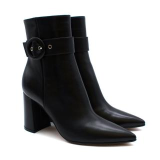 Gianvito Rossi Black Leather Evelyn Heeled Ankle Boots
