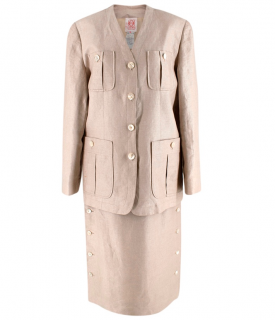 Loewe Beige Linen Vintage Skirt Suit