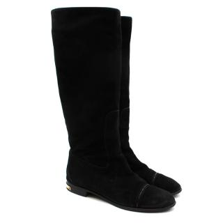 Louis Vuitton Black Suede Flat Boots