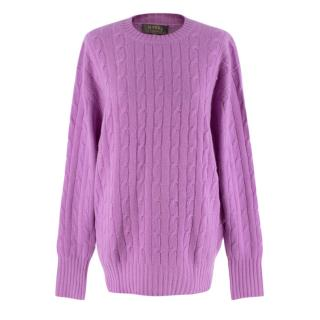 N.Peal Lilac Cable Knit Cashmere Sweater