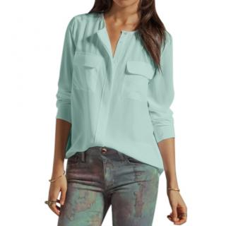 Equipment Sky Blue Washed Silk Signature Collarless Shirt