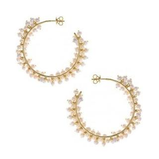 Salvatore Plata Gold Plated Pearl Hoop Earrings