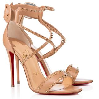 Christian Louboutin Nude Choca Spikes 100mm Sandals