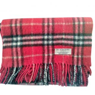 Burberry Red Plaid Wool & Cashmere Scarf