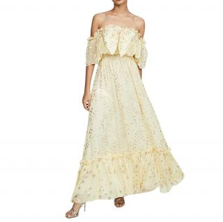 LoveShackFancy Yellow Silk Ronny Maxi Dress