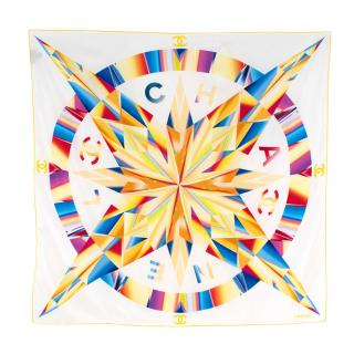 Chanel White/Rainbow Compass Print Square Silk Scarf