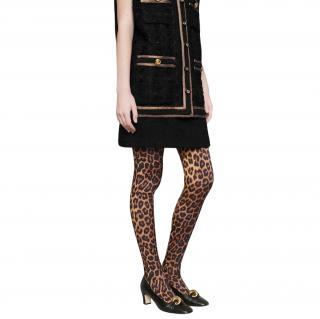 Gucci leopard print silk tights