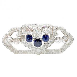 Bespoke Art Deco Diamond & Sapphire Brooch