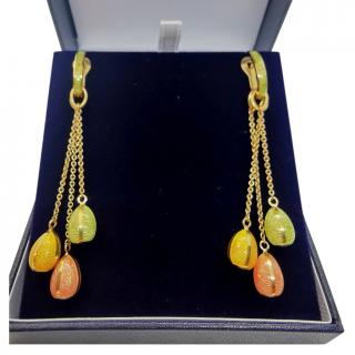 Faberge 18ct Yellow Gold Enamel Egg Drop Earrings