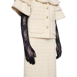 Gucci Black Tulle Embroidered Long Gloves