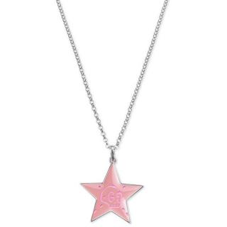 Gucci Ghost Pink Enamel Star Pendant Necklace