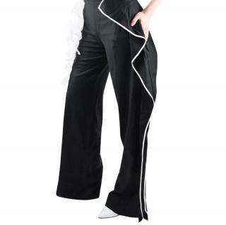 Vionnet Black Ruffle Trim Wide Leg Pants