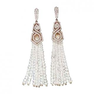 William & Son Diamond/Rock Crystal Tassel Earrings