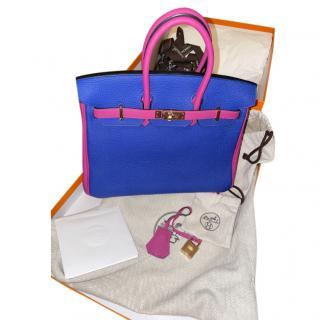Hermes Special Order Rose Poupre/Bleu Electrique Togo Birkin 25 RGHW