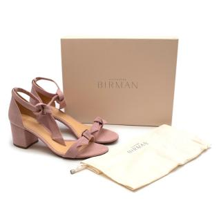Alexandre Birman Pink Linen Clarita Block Sandals