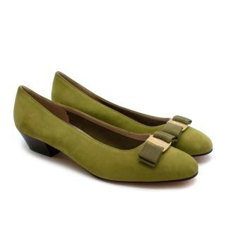 Salvatore Ferragamo Green Suede Vintage Court Shoes