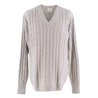N.Peal Grey Cashmere Cable Knit V Neck Sweater