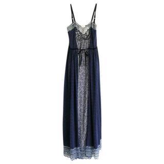 Chloe Multi-Print Blue Crepe De Chine Maxi Dress