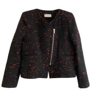 Sandri Black/Red Tweed Asymmetric Jacket