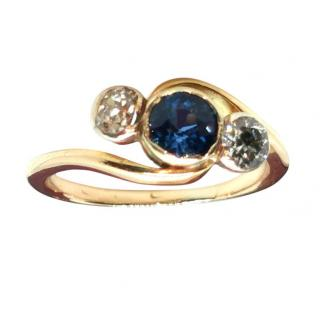 Bespoke Yellow Gold Diamond & Sapphire Trilogy Ring