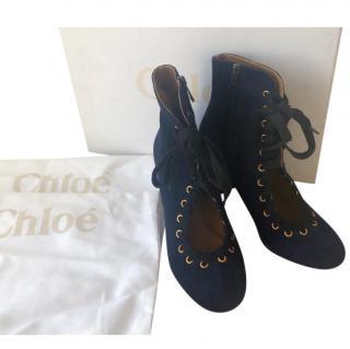 Chloe Blue Velvet Cut-Out Lace-up Booties