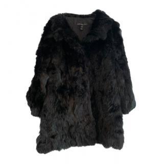 Adrienne Landau Rabbit Fur Black Coat