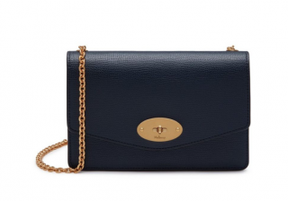 Mulberry Small Blue Grained Leather Darley Satchel