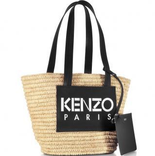 Kenzo Logo Patch Raffia Tote Bag