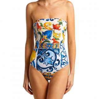 Dolce & Gabbana Sicily Print Strapless Swimsuit