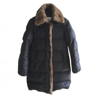 Moncler Black Fur Trimmed Puffer Coat