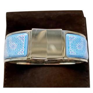 Hermes Blue & Pink Enamel Loquet GM PHW