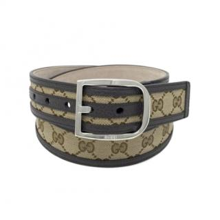 Gucci Supreme Canvas Leather Trimmed Belt - Size 85