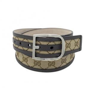 Gucci Supreme Canvas Leather Trimmed Belt - Size 85